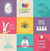 picture of greeting card design  - Set of colorful flat labels design for Happy Easter with flowers eggs and rabbit elements - JPG
