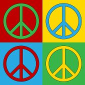 stock photo of peace  - Pop art peace symbol icons - JPG
