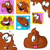 picture of excrement  - funny poo character in many position  - JPG