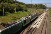 image of railroad yard  - the train on the tracks in novosibirsk - JPG