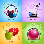 pic of health  - Fitness design concept set with wellness health and energy icons isolated vector illustration - JPG