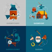 stock photo of blacksmith shop  - Blacksmith design concept set with hearth shop equipment flat icons isolated vector illustration - JPG