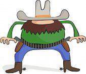 foto of gunslinger  - A cartoon cowboy gunslinger is ready to draw - JPG