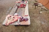stock photo of trough  - Pieces of pig over wooden trough - JPG