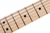 image of fret  - Empty wooden maple fingerboard of classic shaped electric guitar closeup isolated on white background with clipping path - JPG