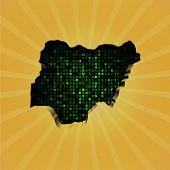 image of nigeria  - Nigeria sunburst map with hex code illustration - JPG