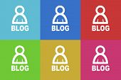 stock photo of blog icon  - blog flat design modern vector icons set for web and mobile app - JPG