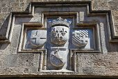image of chapels  - Coat of Arms of a Hospitaller Knight at the Residence of the prior chapel of France in Rhodes Greece - JPG