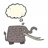 stock photo of mammoth  - cartoon woolly mammoth with thought bubble - JPG