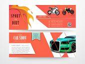 pic of dirt-bike  - Website header or banner set for sport vs dirt chapionship and car show - JPG
