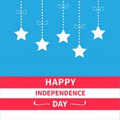 picture of dash  - Hanging stars with dash line bow Srip background Happy independence day United states of America - JPG