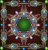 image of precious stones  - illustration background with a circular gold ornaments with precious stones - JPG