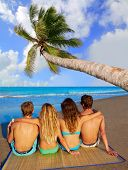 stock photo of couple sitting beach  - friends group couples sitting in beach sand rear view back palm tree photo mount - JPG