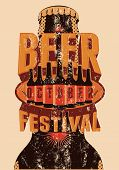 image of drawing beer  - Beer Festival vintage style grunge poster with a beer bottles - JPG