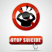 pic of suicide  - illustration of stop suicide sign with button - JPG