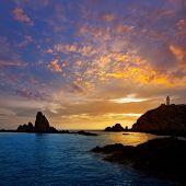 foto of lighthouse  - Almeria Cabo de Gata lighthouse sunset in Mediterranean sea of Spain - JPG