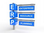 stock photo of enterprise  - 3D render of pole with text Enterprise resource management and abbreviation ERP - JPG