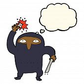 foto of ninja  - cartoon ninja with thought bubble - JPG