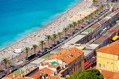 stock photo of french culture  - Nice French Riviera viewed from the high Castle Hill - JPG