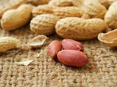 picture of groundnuts  - groundnut on the sack background close up - JPG