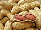 stock photo of groundnuts  - groundnut on the sack background close up - JPG