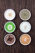picture of scrubs  - homemade body scrubs skin care on wood background - JPG