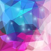 image of jade blue  - Abstract bright blue and pink colored polygonal vector triangular geometric background with bright glaring lights for use in design for card invitation poster banner placard or billboard cover - JPG