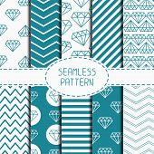picture of chevron  - Set of blue hipster fashion geometric seamless pattern with diamond - JPG