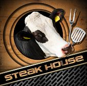 pic of cow head  - Steak house menu design with head of cow and kitchen utensils on wooden background with circles text Steak house and a metal background with grill - JPG