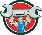 foto of overalls  - Illustration of a mechanic wearing hat and overalls looking to the side lifting giant spanner wrench viewed from front set inside circle on isolated background done in cartoon style - JPG