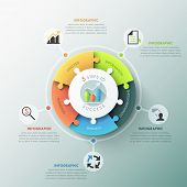 pic of pie-chart  - Modern infographic options banner with pie chart divided into 5 puzzle elements - JPG