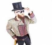 image of queer  - Man in strange outfit and sunglasses standing - JPG