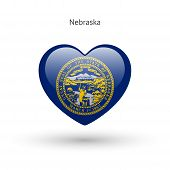stock photo of nebraska  - Love Nebraska state symbol - JPG