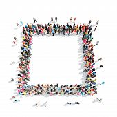 picture of octagon shape  - A large group of people in the shape of a stop sign - JPG