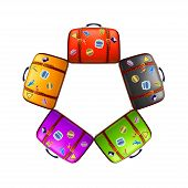 stock photo of old suitcase  - illustration of set of different color old suitcases on white background - JPG