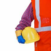 stock photo of vest  - Safety Protective Work Equipment.Worker in orange vest holding yellow helmet isolated on white background - JPG