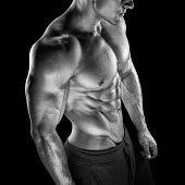 picture of six pack  - Young athletic man torso showing six pack abs - JPG
