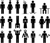 stock photo of artificial limb  - Black vector Stick figures in different situations - JPG
