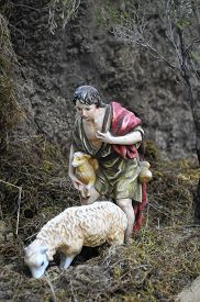 image of desert christmas  - Traditional European Statuette in a Christmas Crib Nativity Scene - JPG