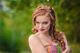 foto of freckle face  - Portrait of a beautiful red - JPG