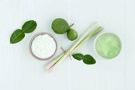 picture of scrubs  - asian homemade fresh herbs scrubs and skin care on wood background - JPG