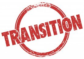pic of transformation  - Transition word in a red round stamp in grunge ink style to illustrate change - JPG