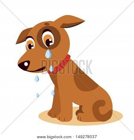 poster of Sad Crying Dog Cartoon Vector Illustration. Dog With Tears. Crying Dog Emoji. Crying Dog Face.