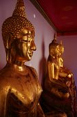 picture of budha  - golden budhas from a wat in palace district bangkok - JPG