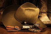 stock photo of cowboy  - Cowboy or western themed image of a cowboy hat - JPG