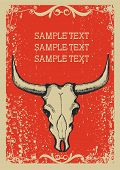 image of appaloosa  - Cowboy old papaer background for text with bull skull  - JPG