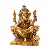 stock photo of ganesh  - Golden Hindu God Ganesh over a white background - JPG
