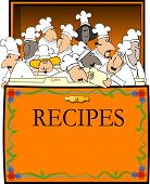 stock photo of recipe card  - This illustration depicts an open recipe box with assorted chefs between the divider cards - JPG