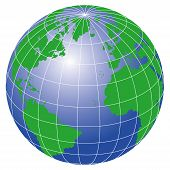 pic of world-globe  - an illustration of the globe earth against white - JPG