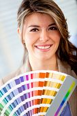 stock photo of interior decorator  - Interior designer with a color palette ready to decorate - JPG